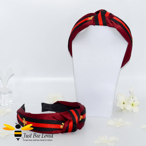Ladies Knot twist headband with embroidered bees in burgundy colour with black stripe