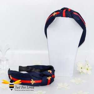 Ladies Knot twist headband with embroidered bees in navy colour with red stripe