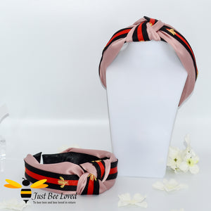 Ladies Knot twist headband with embroidered bees in pink colour with red and black stripe