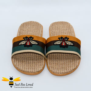Men's woven hemp vegan slippers with embroidered bee design