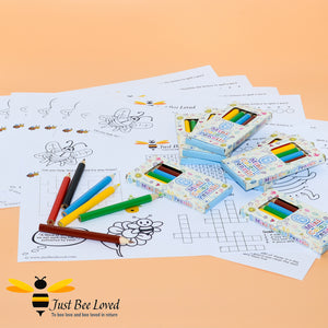 Just Bee Loved Children's Bee Activity Sheet with colouring pencils
