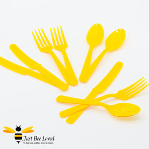 Sunshine Yellow 3 Piece Plastic Cutlery Set - 24 Pack Party Supplies & Fancy Dress