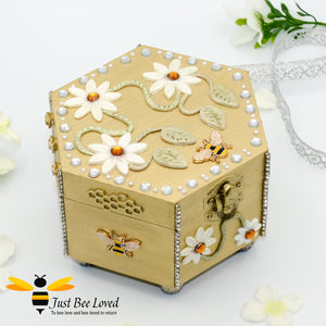 Just Bee Loved Bee Handmade Hexagon Jewellery Box Decorated with Bees Daisies and Pearls
