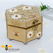 Load image into Gallery viewer, Just Bee Loved Bee Handmade Hexagon Jewellery Box Decorated with Bees Daisies and Pearls