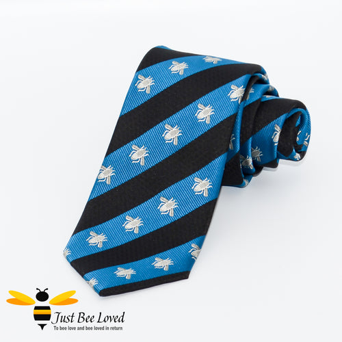 Navy and blue diagonal striped neck tie with grey embroidered bees design
