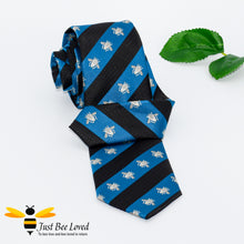 Load image into Gallery viewer, Navy and blue diagonal striped neck tie with grey embroidered bees design