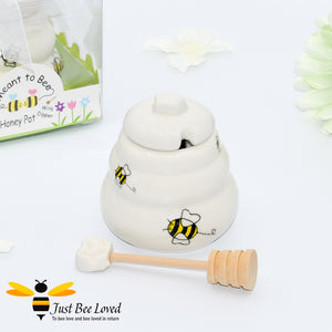 "Ceramic cute hive honey pot with dipper, decorated with bees in a gift box with ""meant to bee"" message"