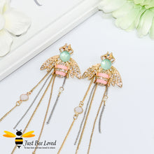 Load image into Gallery viewer, Crystal Bee & Chain Tassel Earrings Bee Trendy Fashion Jewellery