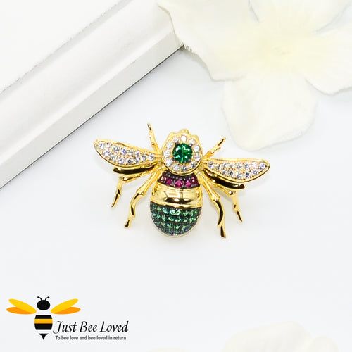 Sterling silver 925 gold plated bee brooch inlaid with rubies, green spinel and white zirconia crystals