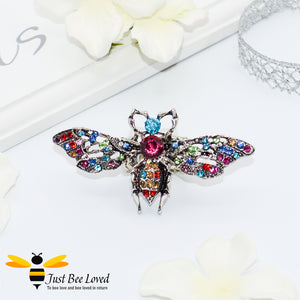 Rhinestone Bee Antique Silver Statement Ring Trendy Fashion Jewellery