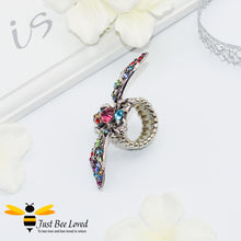 Load image into Gallery viewer, Rhinestone Bee Antique Silver Statement Ring Trendy Fashion Jewellery