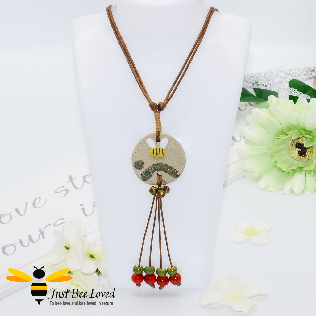 Handmade Clay Bee & Beads Tassel Rope Necklace Bee Trendy Fashion Jewellery