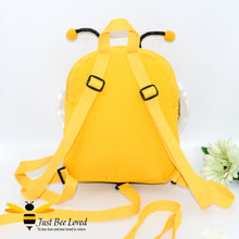 Load image into Gallery viewer, Just Bee Loved Children's Safety Harness Bumble Bee Backpack with cute antennae, white mesh wings and smiley bee face in colour yellow with black stripes