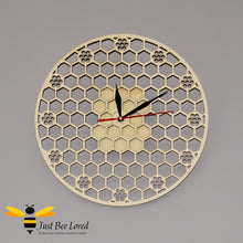 Load image into Gallery viewer, Natural wood honeycomb round lattice wall bee clock