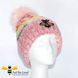 Ladies thick knitted wool hat with large bumblebee embroidery
