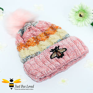Ladies thick knitted pink wool hat with large bumblebee embroidery