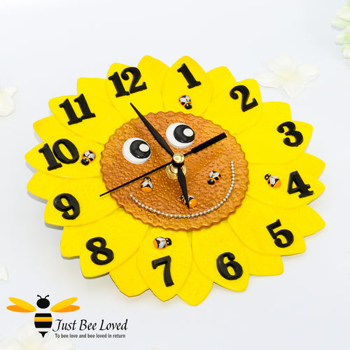 Just Bee Loved Handmade Sunflower and Bees Children's Wall Clock