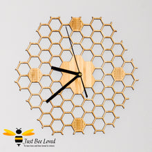 Load image into Gallery viewer, Natural wood bamboo honeycomb lattice wall bee clock