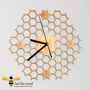 Natural wood bamboo honeycomb lattice wall bee clock