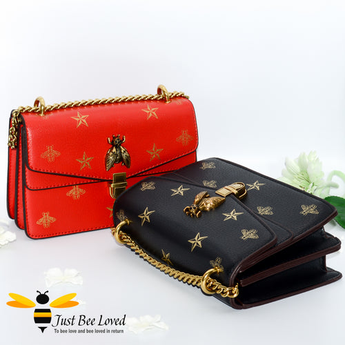 Just Bee Loved Luxury Bees and Stars print Handbag PU Leather with gold chain strap in colours of red and gold and black and gold