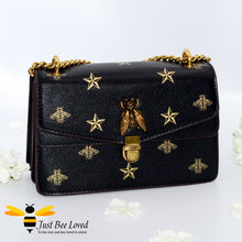 Load image into Gallery viewer, Just Bee Loved Luxury Bees and Stars print Handbag PU Leather with gold chain strap in colours black and gold stars