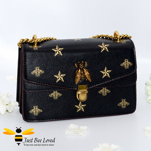 Just Bee Loved Luxury Bees and Stars print Handbag PU Leather with gold chain strap in colours black and gold stars