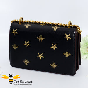 Just Bee Loved Luxury Bees and Stars print Handbag PU Leather with gold chain strap in colours of black and gold stars