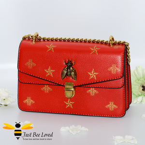 Just Bee Loved Luxury Bees and Stars print Handbag PU Leather with gold chain strap in colours of red and gold stars