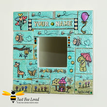 Load image into Gallery viewer, Just Bee Loved Handmade Children's Personalised Mosaic Clay Mirror decorated with bees