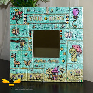 Just Bee Loved Handmade Children's Personalised Mosaic Clay Mirror decorated with bees