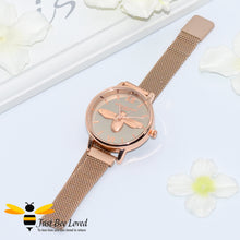 Load image into Gallery viewer, Ladies Rose Gold Stainless Steel Bumblebee Wrist Watch