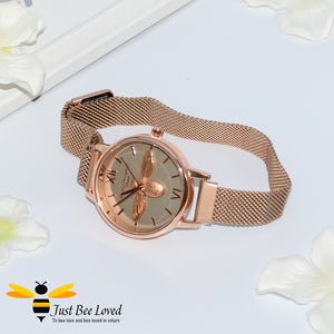 Ladies Rose Gold Stainless Steel Bumblebee Wrist Watch