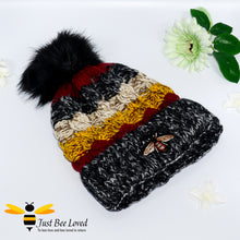 Load image into Gallery viewer, Ladies thick knitted black wool hat with large bumblebee embroidery
