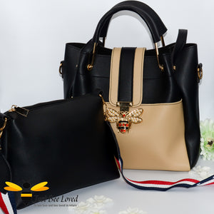 Just Bee Loved Bee Buckle Large Shoulder bag PU Leather Handbag in contrasting colours of beige and black with free mini black bag