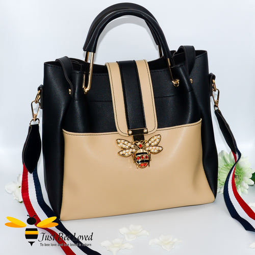 Just Bee Loved Bee Buckle Large Shoulder bag PU Leather Handbag in contrasting colours of beige and black