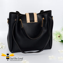 Load image into Gallery viewer, Just Bee Loved Bee Buckle Large Shoulder bag PU Leather Handbag in contrasting colours of beige and black