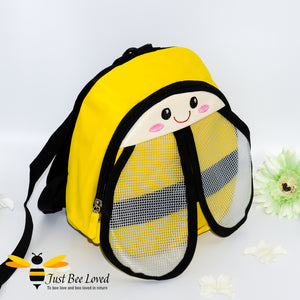 Just Bee Loved Children's Safety Harness Backpacks in the style of bumble bees four colours pink red blue and yellow