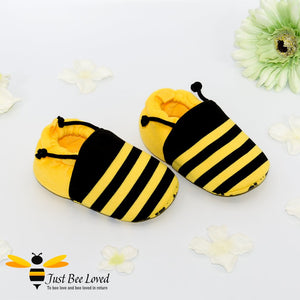 Baby's first bee booties in black and yellow with antennae