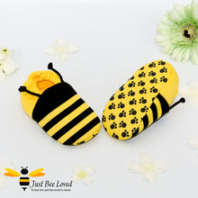 Load image into Gallery viewer, Baby's first bee booties in black and yellow with antennae