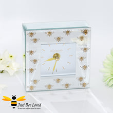 Load image into Gallery viewer, Glittering Queen Bee Glass Mirrored Mantel Clock from the Leonardo Collection