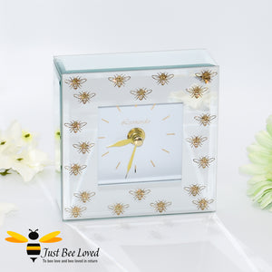 Glittering Queen Bee Glass Mirrored Mantel Clock from the Leonardo Collection