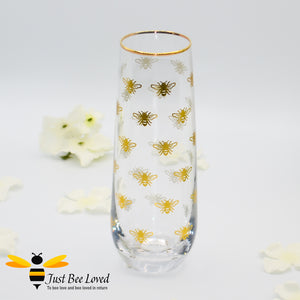 Glittering Queen Bee Glass Stemless Champagne Flute in Matching Gift Box from the Leonardo Collection