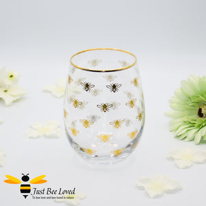 Glittering Gold Queen Bee Stemless Wine Glass from the Leonardo Collection