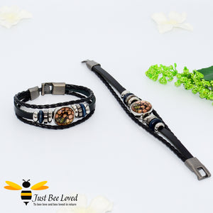 Just Bee Loved Tribal Leather Bee Bracelet Unisex Bee Trendy Fashion Jewellery