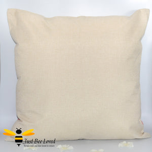 """Bee Happy"" Large Golden Bee Scatter Cushion in Navy colour"