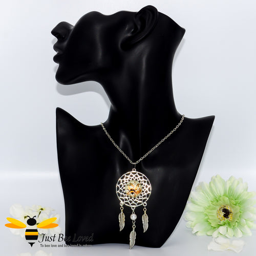 Dreamcatcher Bumblebee Pendant Silver Necklace Bee Trendy Fashion Jewellery