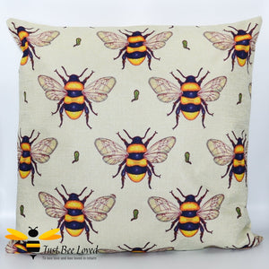 Bumblebees printed on cotton linen scatter cushion