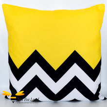 Load image into Gallery viewer, Black and yellow zigzag pattern pillow scatter cushion bee inspired