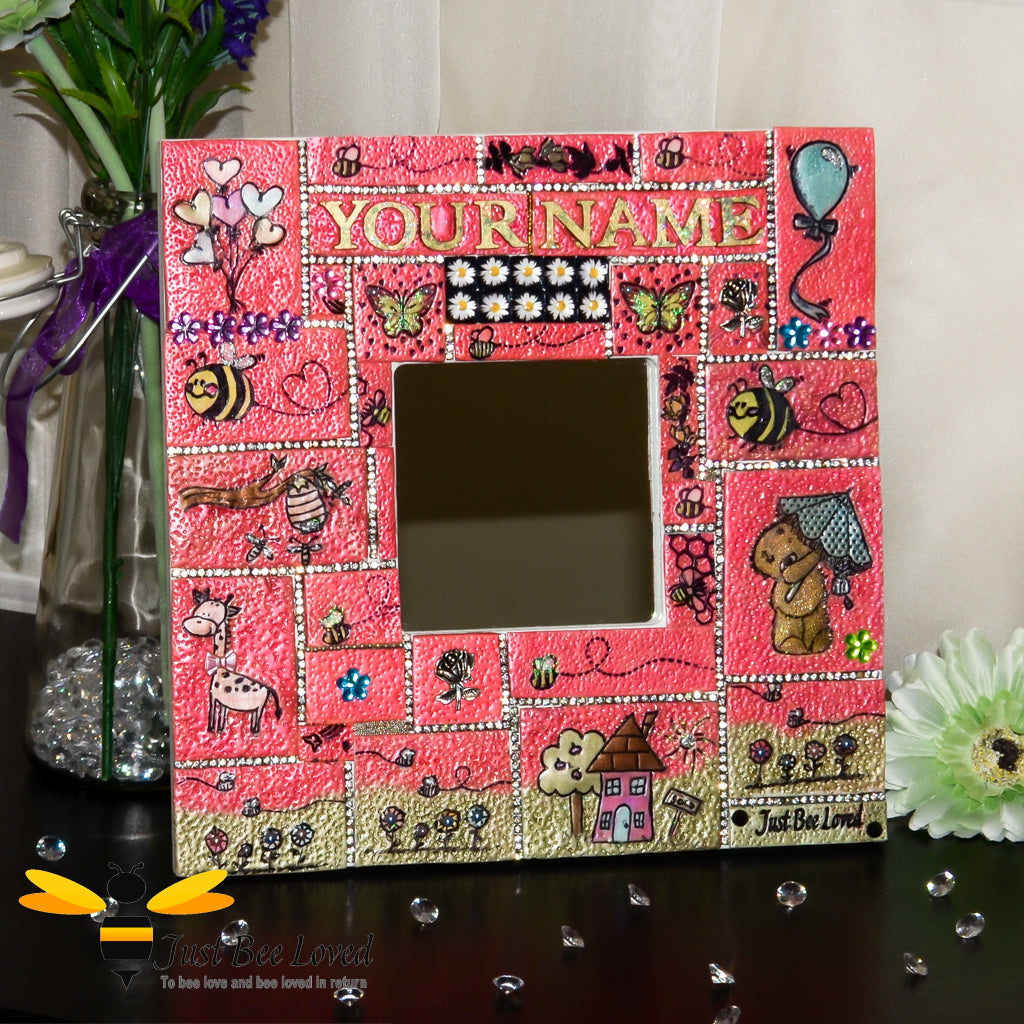 Children's Personalised Handmade Bees Mosaic Clay Mirror for Girl
