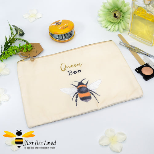 Queen Bee Makeup Toiletries Bag Pouch featuring design of a bumble bee with the message